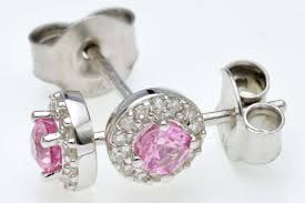 9ct white gold pink sapphire diamond stud earrings
