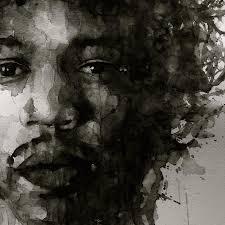 jimi hendrix painting hendrix black n white by paul lovering