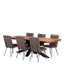 navarro star dining table and 6 bron dining chairs dark oak and anthracite dining sets dining room