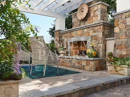 natural stone outdoor fireplace largefireplace custom design build