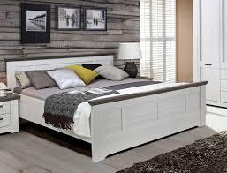 Bett 180x200 Cm Weiß Grau Schneeeiche Doppelbett Komfortbett
