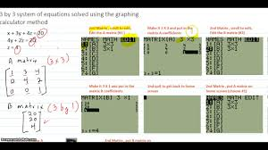 system of 3 equations in 3 variables solved using the ti 84 calculator method