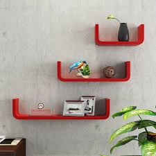 Rounded Corner Shelves Floating Wall Shelf Set Of 100 'U' Shape Round Corner Wall Racks Red 49