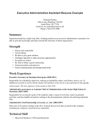 Sample Executive Assistant Resume Resume Samples
