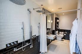 simple white bathrooms. View In Gallery Stripes Coupled With Tiles This Simple Black And White Bathroom Bathrooms