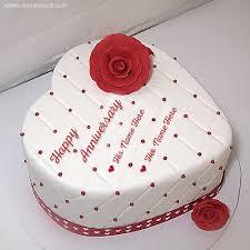 White Anniversary Cake With Names