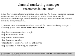 Channel marketing manager recommendation letter