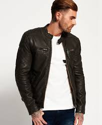superdry endurance trial leather jacket in dark army cool mens superdry larger image