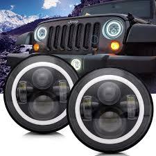 Jk Led Lights Turbosii Dot Approved 7in Round Led Headlight For Jeep Wrangler Jk Tj Lj Cj Hummer H1 H2