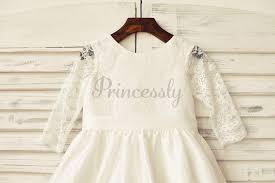 Ivory Long Lace Sleeves Taffeta Flower Girl Dress - Princessly