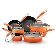 rachael ray pan set. Wonderful Ray Rachael Ray Hard Enamel Nonstick 10Piece Cookware Set Orange Gradient For Pan Set A