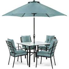 lavallette black steel 5 piece outdoor dining set with umbrella base and ocean blue