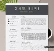 Professional Resume Template And Cover Letter Cv Template Word Resume Creative Resume Design Instant Download Resume The Katherine