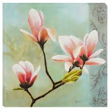 brush stroke stretched oil painting on canvas fl yulan flower
