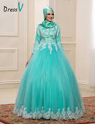 2017 muslim wedding dresses with hijab high neck 3 4 sleeves mint
