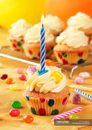 Birthday Cupcakes With Candles Baked Goods Sweet Food Stock