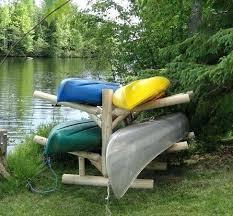 outdoor kayak rack four kayak log rack diy outdoor wood kayak rack