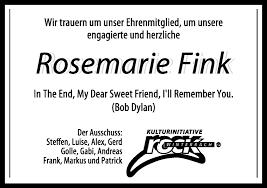 Traueranzeigen von Rosemarie Fink | ZVW-Trauer