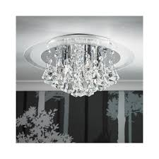 renner 6ch 6 light semi flush chrome crystal ceiling light