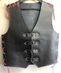 3mm thick black leather vest