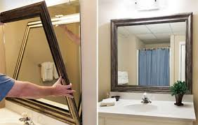 framed bathroom mirrors diy. Plain Mirrors Stickonbathroommirrorframe To Framed Bathroom Mirrors Diy