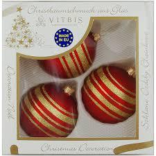 Vitbis Weihnachtskugeln Glas ø 8 Cm 3 Stück Dekor Rot Gold