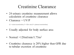 44 creatinine clearance 24 urinary creatinine measurement allows calculation