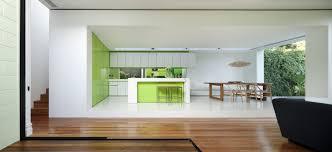 Small minimalist house facade. Modern minimalist facade. Open modern kitchen