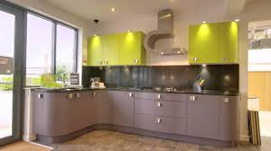lime green cabinets.  Green Elegant Gray Finish Curved Kitchen Cabinets With Black Granite  Countertop Under Lime Green Wall Throughout