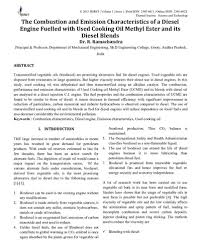 The Combustion and Emission Characteristics of a Diesel Engine Fuelled with  Used Cooking Oil Methyl Ester and its Diesel Blends
