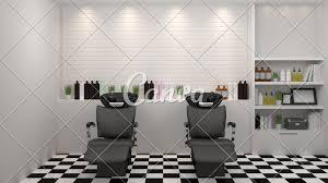 Hair Cutting Salon Interior Design Salon Interior Modern Style Spa Beauty 3d Illustration