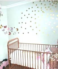 gold wall decals baby nursery with copper metal crib and spot rose decal stickers removable dot