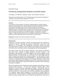 Pdf Introducing Undergraduate Students To Scientific Reports