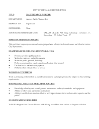 Ideas Collection Alluring Hotel Maintenance Job Resume Also Job