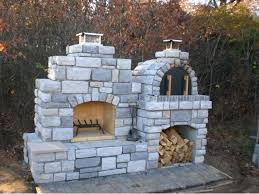 the family outdoor fireplace with pizza oven in decorating diy combo