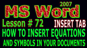 how to insert equations and symbols in ms word 2007 tutorial in urdu lesson 72