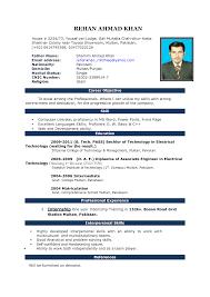 Resume Format For Microsoft Word Curriculum Vitae Resume Samples In