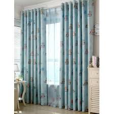cheap window treatments. Wholesale Cartoon Owl Pattern Polyester Window Curtain - Light Blue W42inch*l63inch Modern French Cheap Treatments F