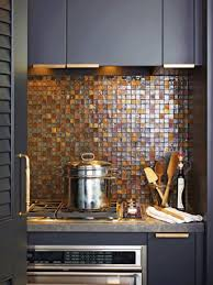 square glass tiles and natural stone countertops