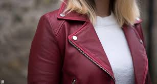 zara burdy red leather jacket blogger