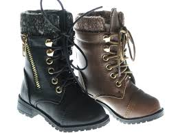 baby toddler girls leather p u combat boots lace up fall and winter shoes