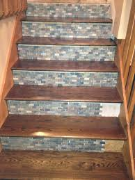 Redo Stairs Cheap Stone Backsplash Tile Used On Stair Risers Home Inprovement