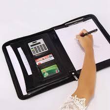 senarai harga kobwa pu leather business portfolio with calculator and writing pad professional interview padfolio with zippered closure multi function