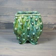 ceramic planter pot with py texture blue green grumpy pot planter with feet succulent pot
