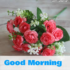 good morning wishes with small red rose pictures