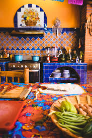 ... playful mexican kitchen color with tile backsplash also floral  tablecloth ...