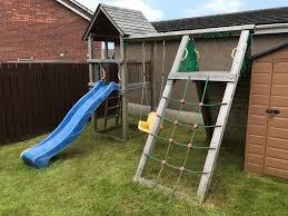 jungle gym cabin slide swing and climbing frame
