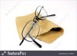 optometry pair of black rimmed metal spectacles in glasses case with chamois leather cleaning cloth