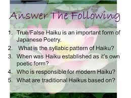 What's The Pattern Of A Haiku Cool Haiku And Tanka Poetry Ppt Video Online Download