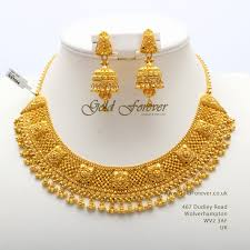 Latest Gold Sets Designs In India 22 Carat Indian Gold Necklace Set 81 8 Grams Code Ns1044